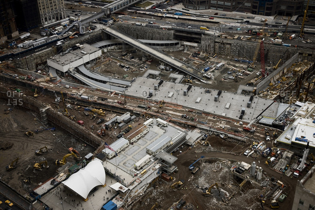 New York, NY, USA - February 7, 2008: Construction crews working at Ground Zero