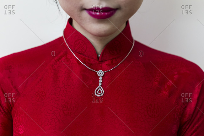 A young Vietnamese bride in traditional dress