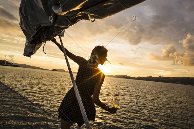 Langkawi, Malaysia - November 11, 2014: Aboard the Naga Pelangi for a sunset dinner cruise in Langkawi, Malaysia