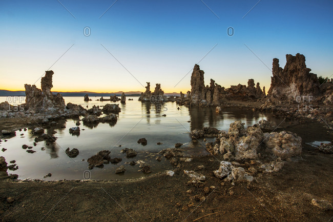 Rock formations in Mono Lake, California