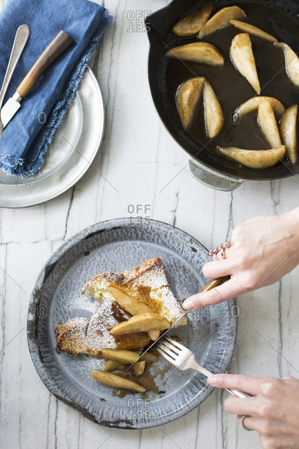 Creme Brulee French Toast with Pears