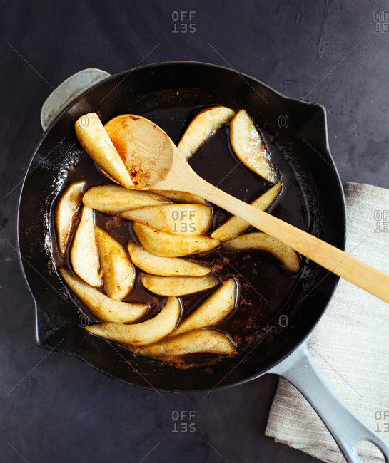 Sauteed Pears in a Cast Iron Pan