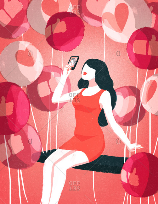 Woman taking selfie with like balloons