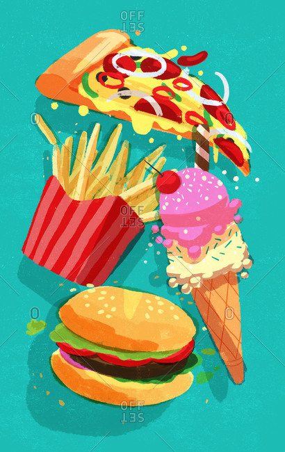 Pizza, ice cream burger and french fries