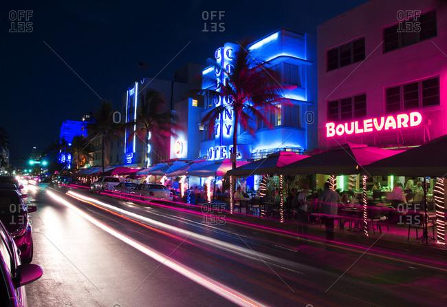 Miami, USA - April 28, 2014: Art Deco hotels, restaurants, bars, and nightclubs on South Beach's Ocean Drive, Miami