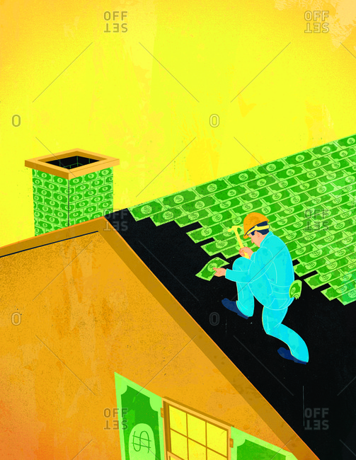 Illustration of man shingling roof with money