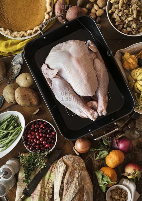 View of preparation of thanksgiving turkey