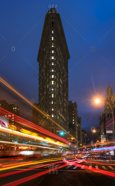New york, NY, USA - December 18, 2014: Light trails on city street