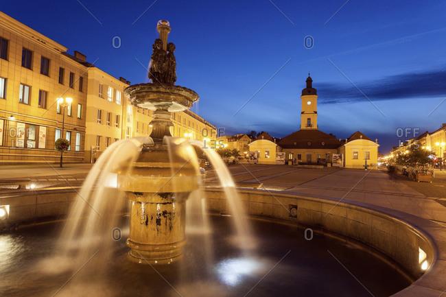 Podlaskie, Poland - November 21, 2010:   Bialostok Fountain on illuminated town square