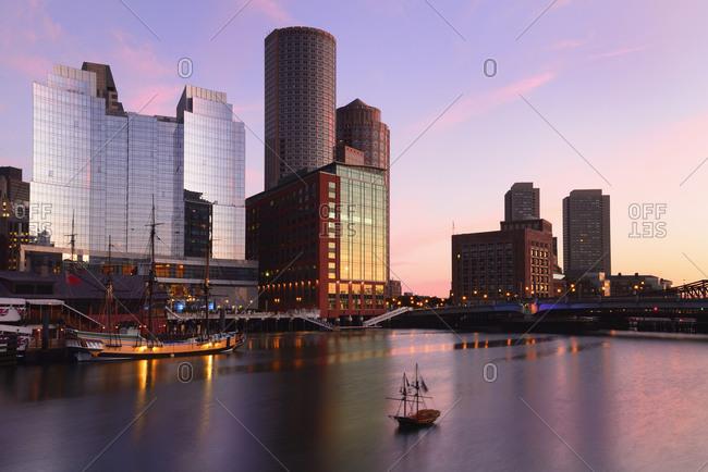 Massachusetts, USA - August 7, 2013: Waterfront at dawn