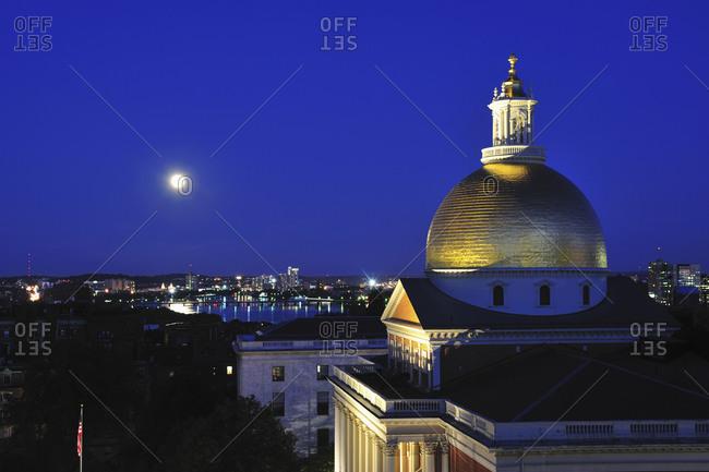 Massachusetts, USA - November 19, 2014: Massachusetts State House Dome and city skyline at dusk