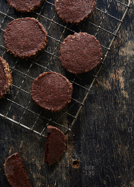 Double chocolate icebox cookies on a cooling rack