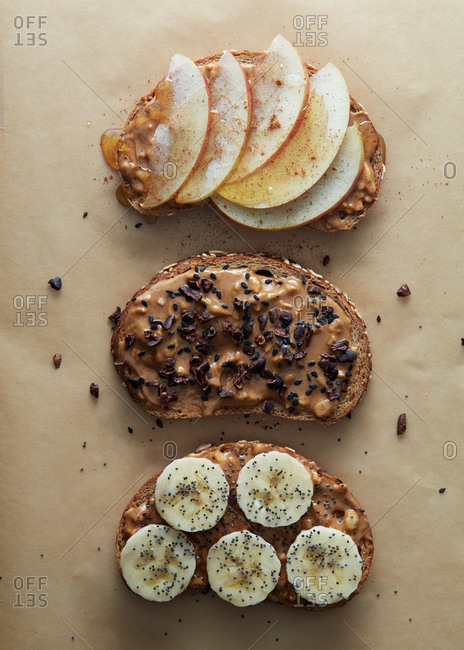 Peanut butter toast with a selection of toppings