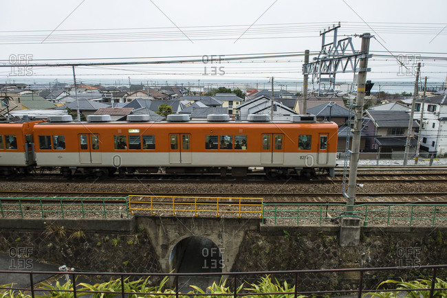 Kobe-shi, Japan - January 1, 2015: Train passing through Kobe-shi