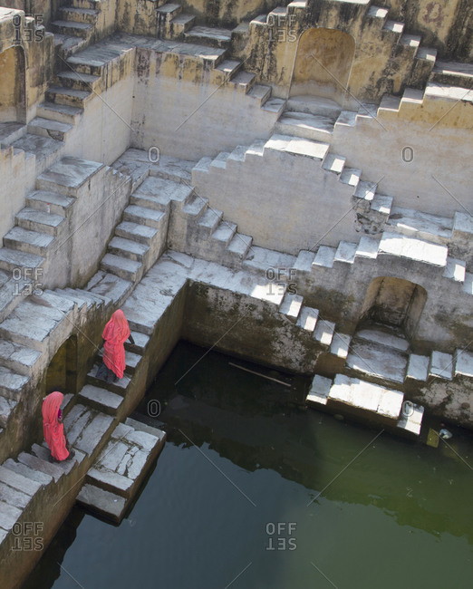 An intricate step well in Jaipur, India