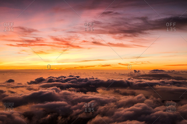 Sunset above  mountain over Faial, Azores, Portugal