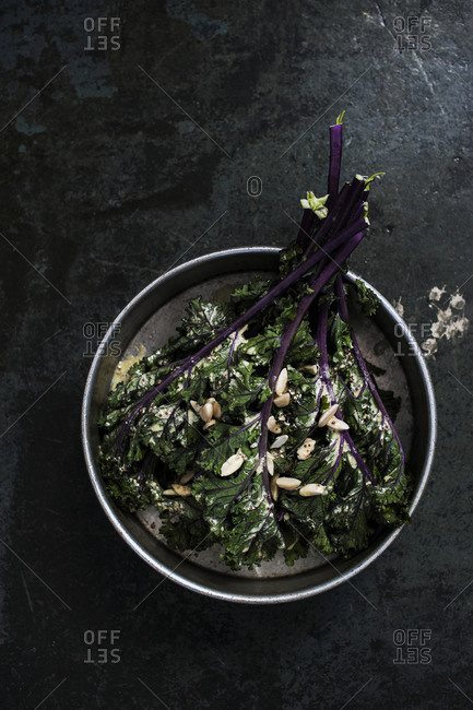 A Caesar salad with kale and homemade peanut dressing