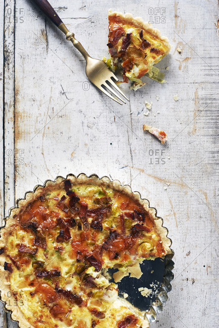 Smoked pork and leek quiche