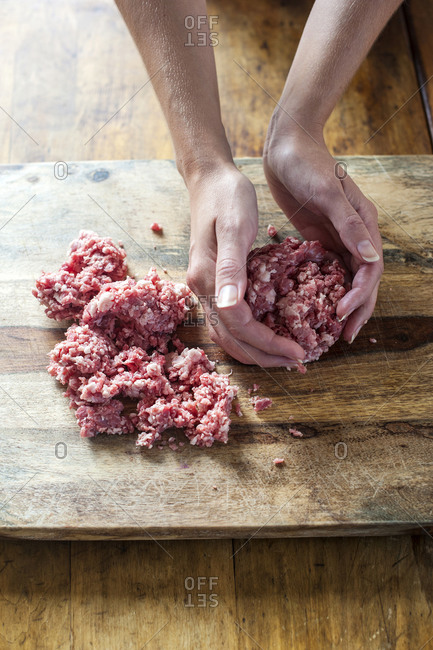 Hand form hamburgers with ground beef