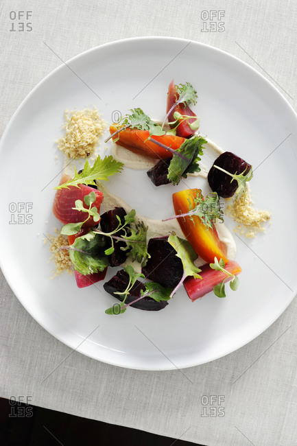 Beet, hazelnut puree and orange salad with orange thyme dressing