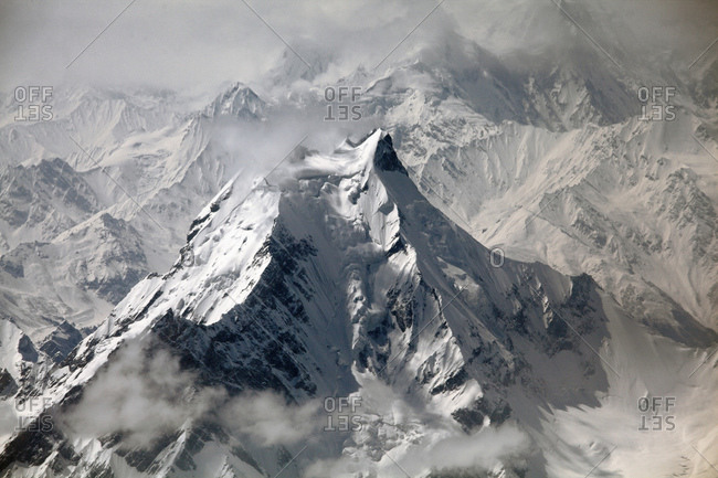 Aerial view of Nanga Parbat, the killer mountain
