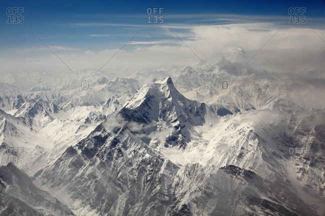 Aerial view of Nanga Parbat in the Himalayas