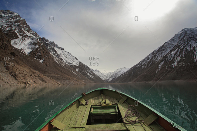 Boating in turquoise glacial waters in Pakistan