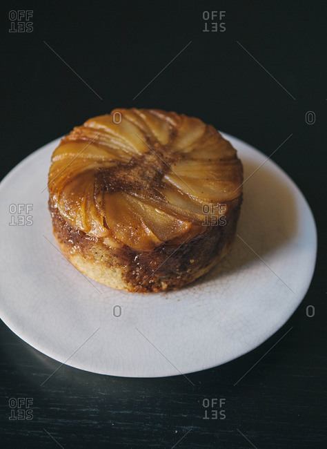 Pear and Earl Gray Upside Down Cake on a white plate