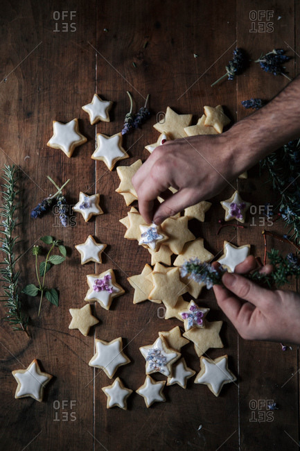 Iced star cut-out cookies with flowers