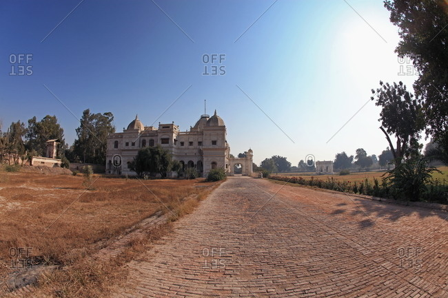 A brick road leading to the Sadiq Garh Palace in Bahawalpur, Pakistan