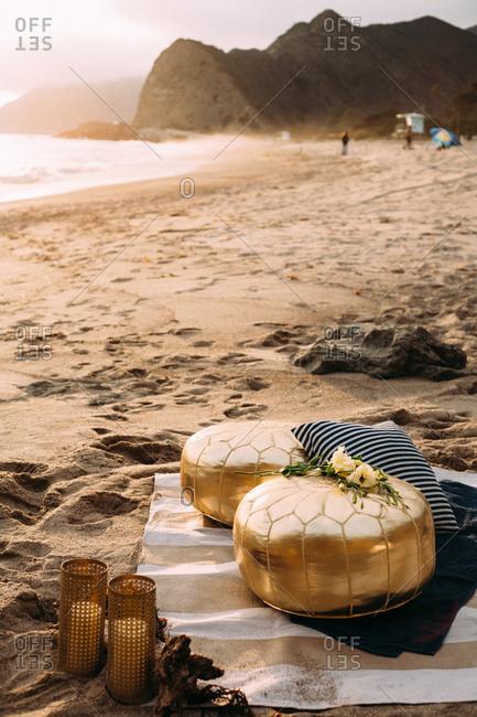 Pouffes on a sandy beach