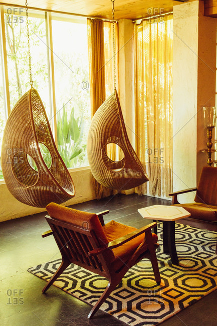 Hanging chairs in a living room