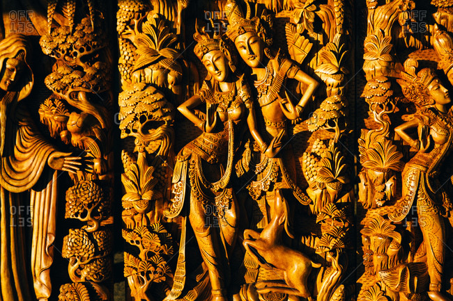 Intricate Balines carving with Shiva and Parvati