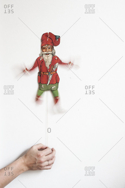 A Santa Clause pull string decoration