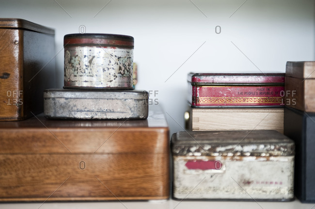 Old tins and wood boxes