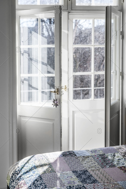 Reflections through a glass door