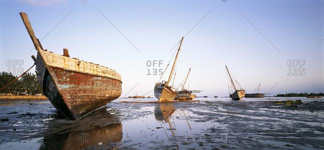 Beached boats in Zanzibar, Tanzania