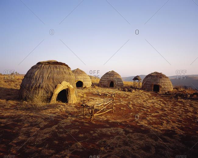 Zulu huts in KwaZulu Natal, Zululand, South Africa