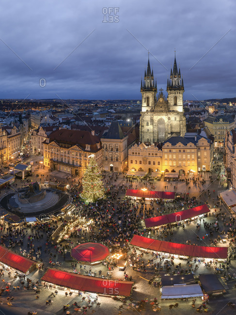 Overhead view of lighted Christmas market at old town square