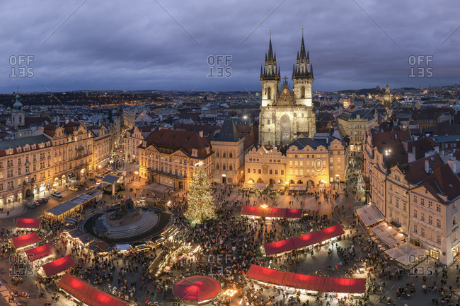 View to lighted Christmas market at old town square