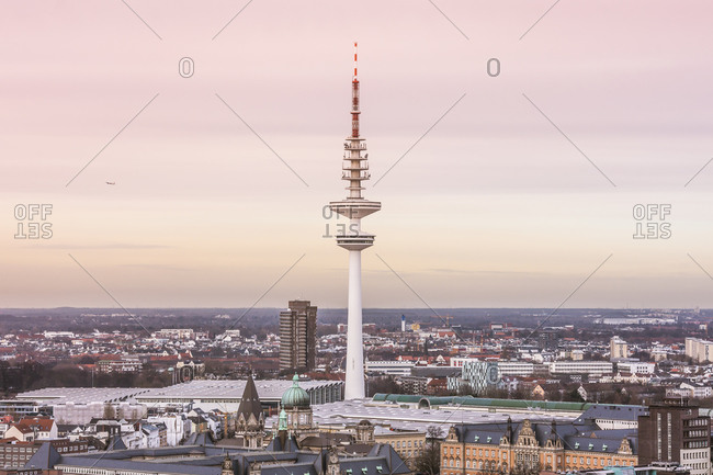 Germany, Hamburg - February 10, 2014: View from St. Michael's Church on the Heinrich-Hertz-Tower