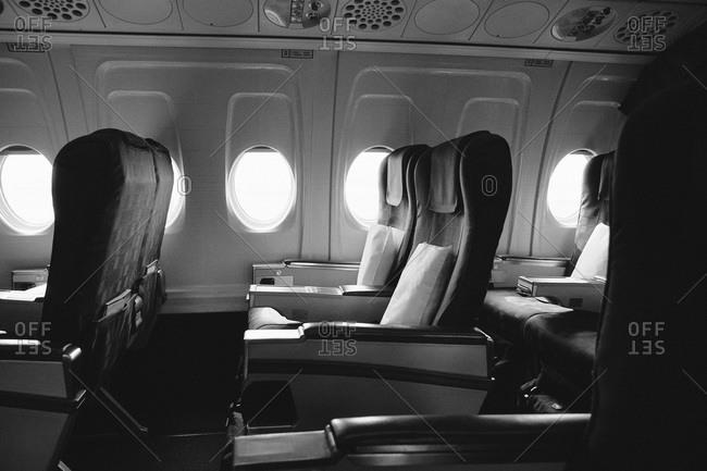 Airplane interior view