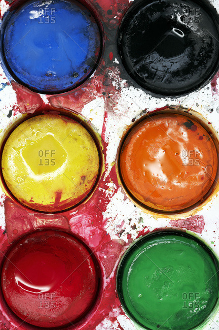 Close-up of watercolor paints