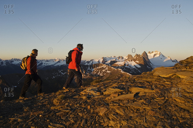 Two people Hiking in The Bugaboos