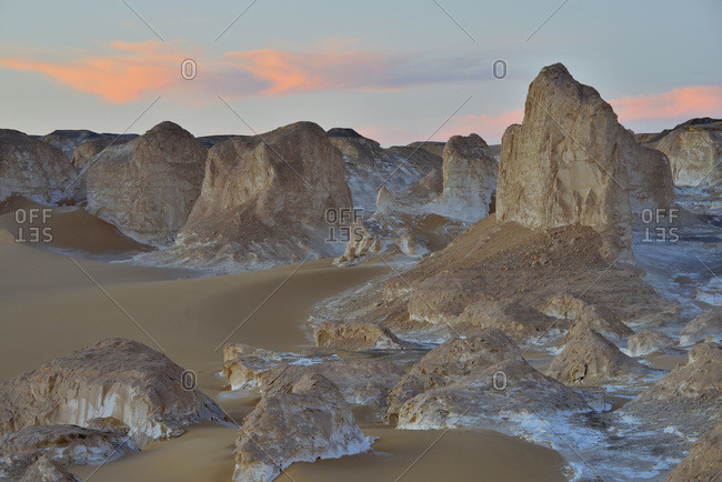 Rock formations at dusk in White Desert, Sahara Desert