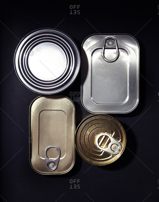 Four tin cans from above