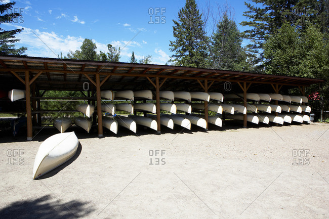Canoes stored in a rack in Ontario, Canada
