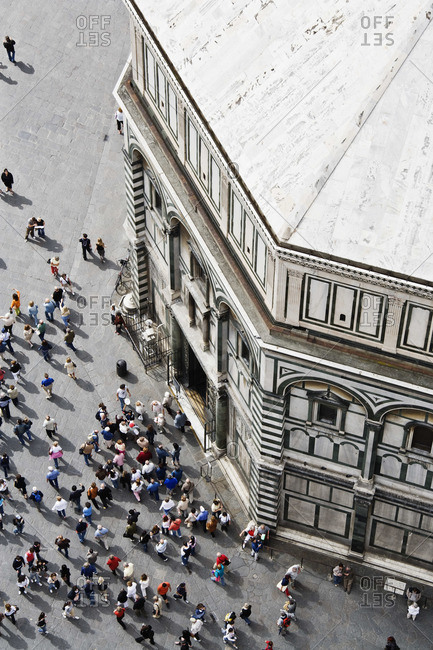Tourists outside the Florence Baptistery, Italy