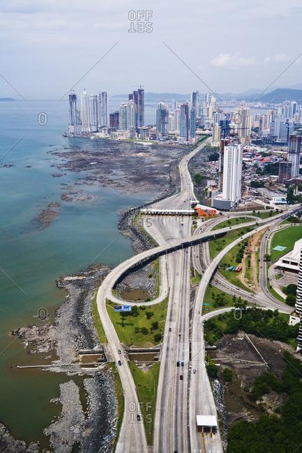 Aerial view of Corredor Sur and Panama City, Panama