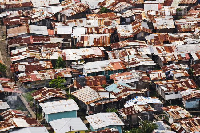 Houses with rusty roofs in Panama